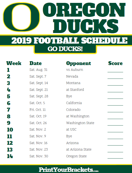 image regarding Printable College Football Schedules called 2019 Oregon Ducks Soccer Program Printable College or university