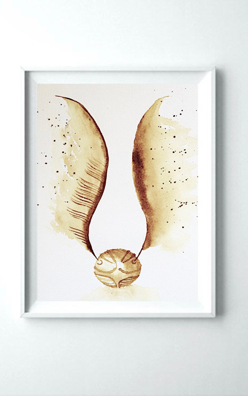 Photo of Golden Snitch Art Print, Harry Potter, Wall Art, Gift, Daniel Radcliffe, Warner Brothers, Movie, 3 Colours