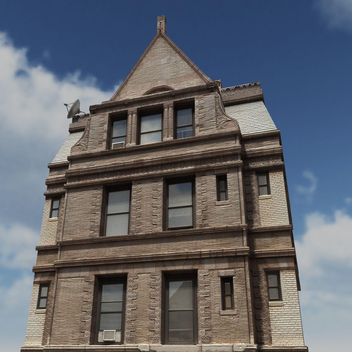 Old Brick Apartment Building: Apartment House #150 Low Poly 3d Building