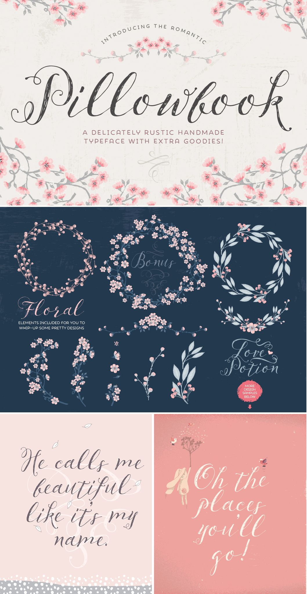 Pillowbook typeface + Extras! by Lisa Glanz on Creative Market #typography #lettering #type #designtoold #download