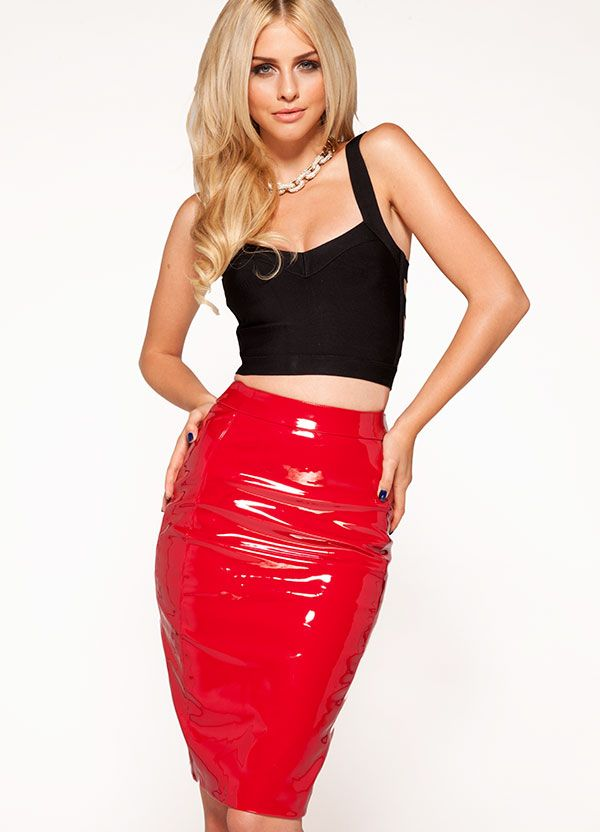 Clothing : Skirts : 'Castalia' Bright Red Patent Leatherette ...