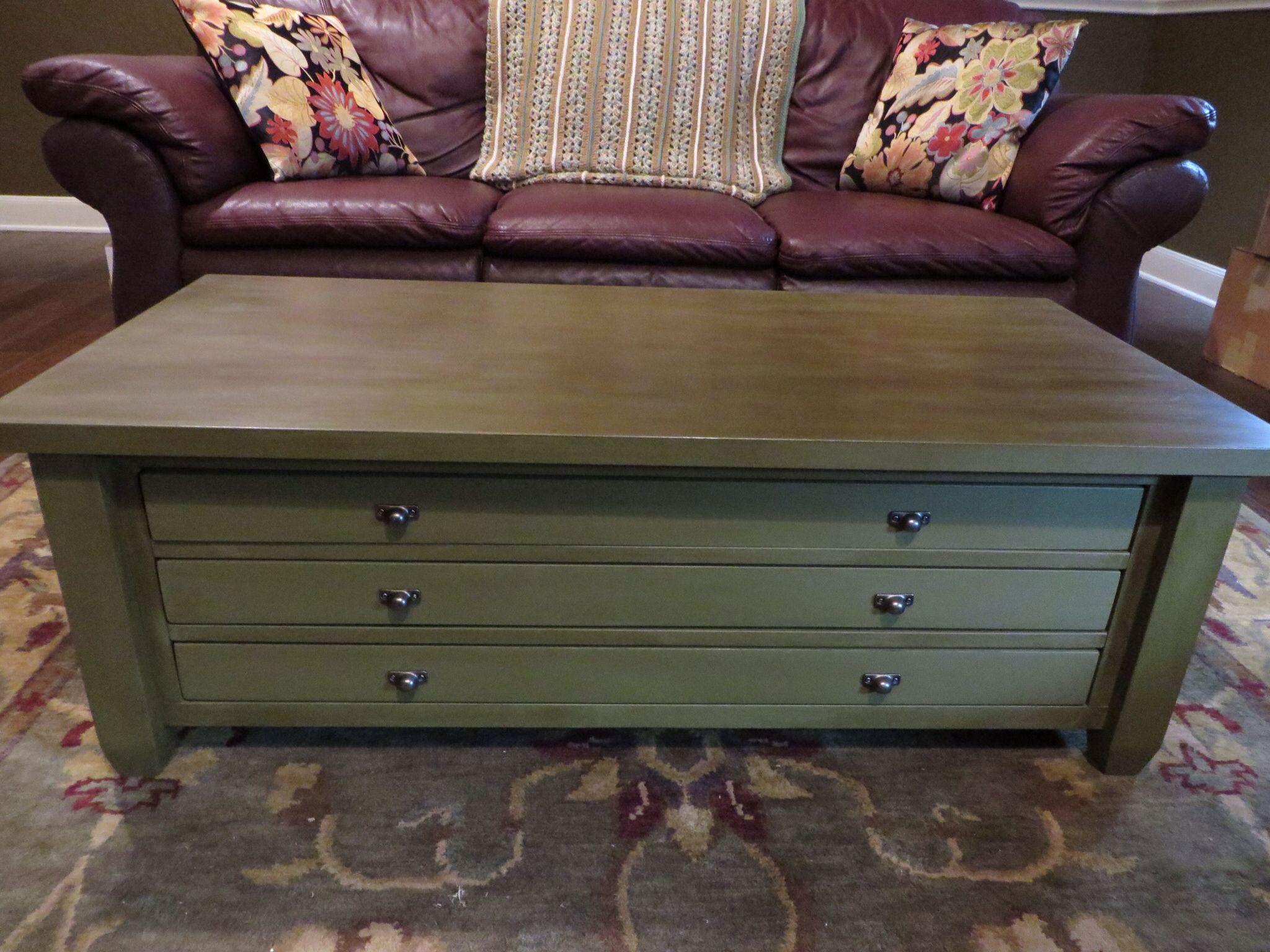 Chalk Painted My Coffee Table Olive Green With Dark Wax A Large