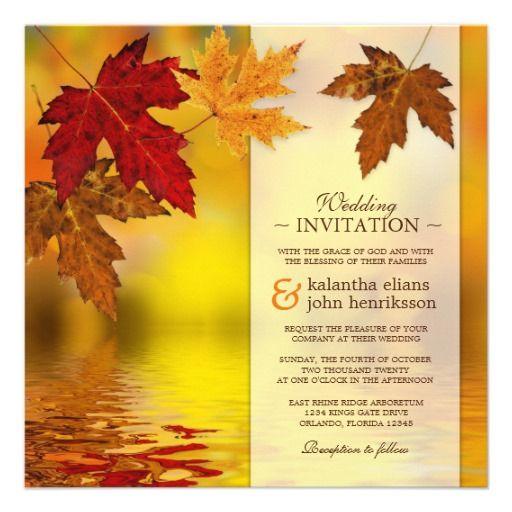 SOLD! Fall Autumn Wedding Invitation With Falling Maple Leaves #Fall #Wedding #Invitation #Autumn #WeddingInvitations #FallWedding
