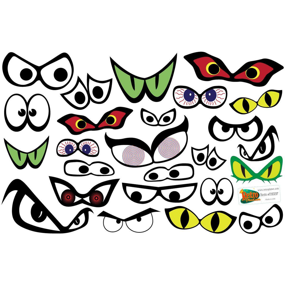 Spooky Eyes Halloween Craft Vinyl Sticker Set Of 25 Spooky Eyes Graffiti Alphabet Graffiti Lettering