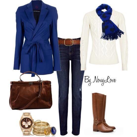 Azul con blanco y marron