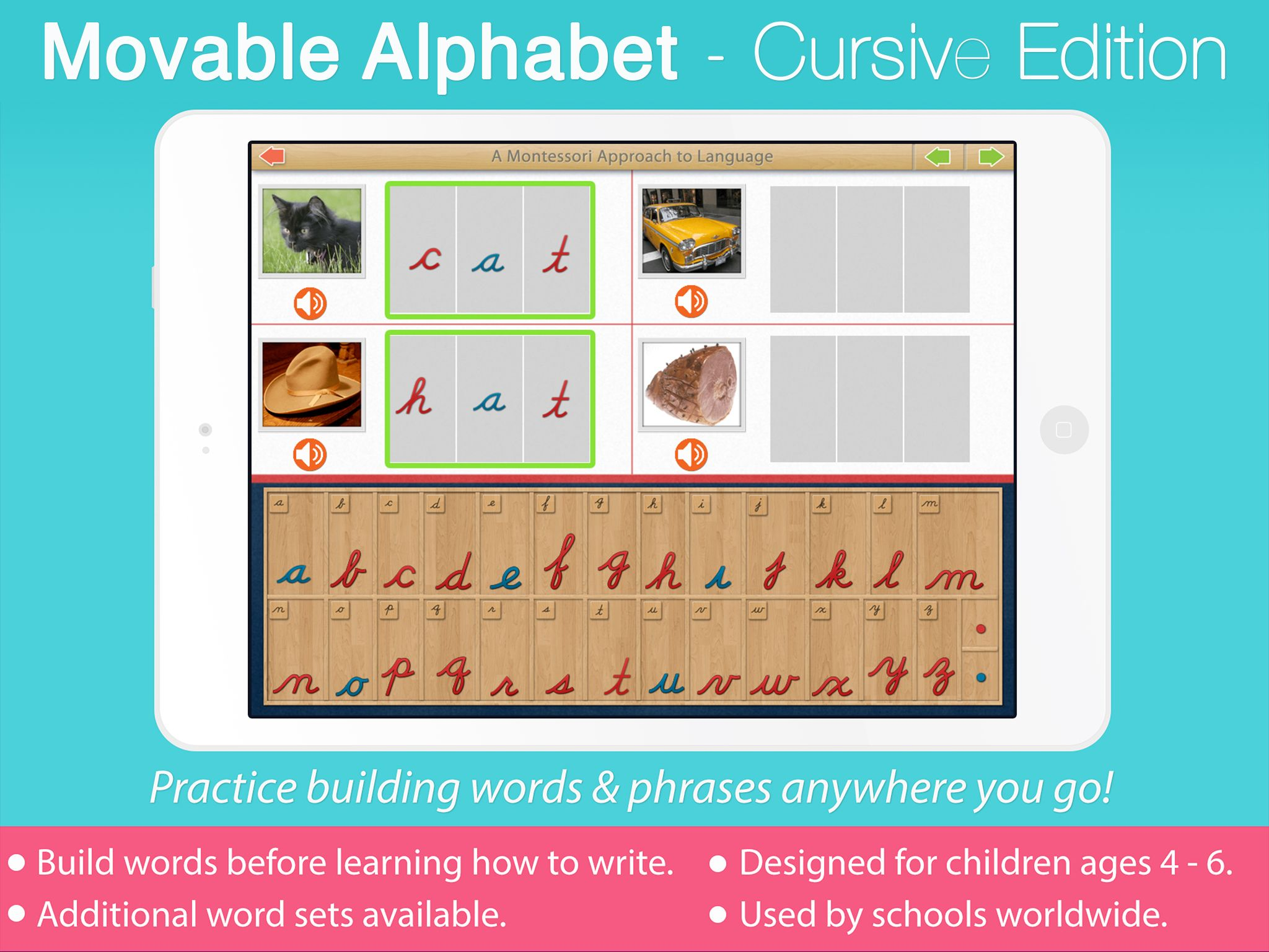 Practice building words in CURSIVE with the Movable