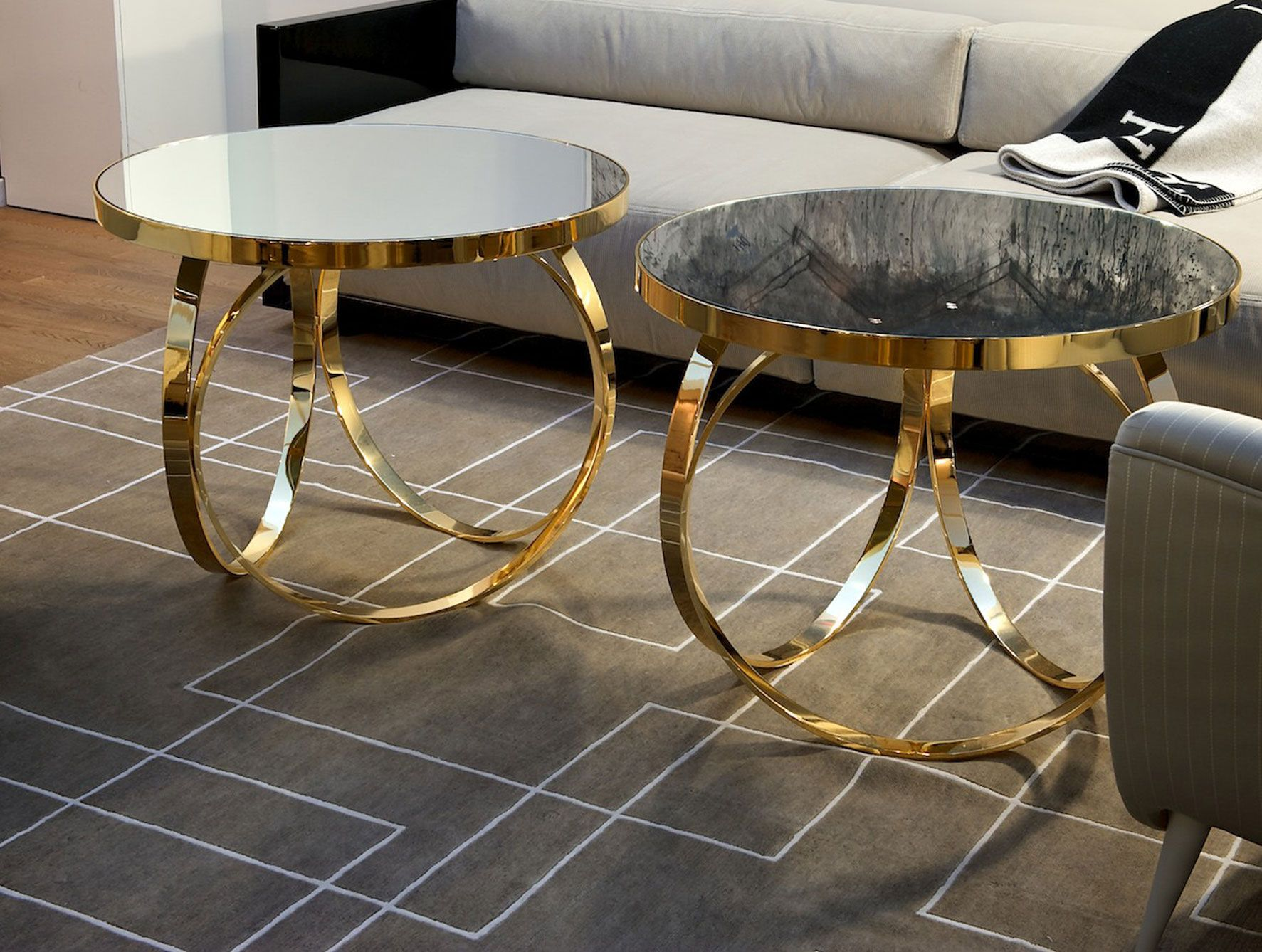Ottoline Contemporary Italian table shown in glass top with gold