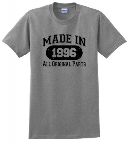 3b342fb0 Made 1996 All Original Parts Funny 18th Birthday T-Shirt Medium Sport Grey