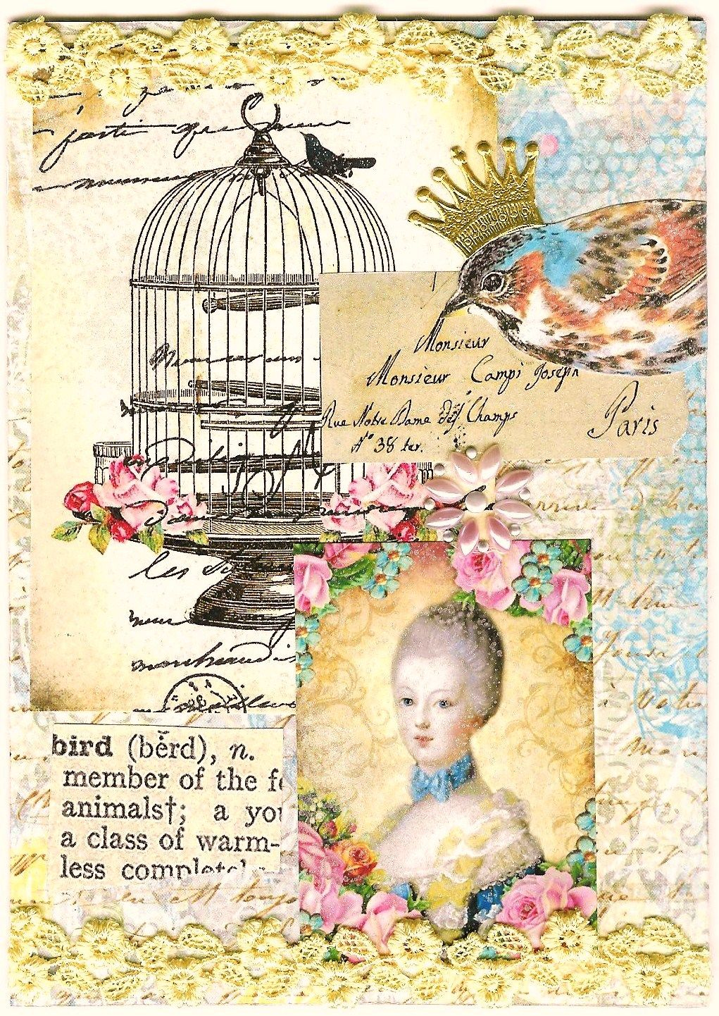 Nostalgic Collage': January 2013 Marie Antoinette Art Journal Page