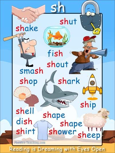 sh Phonics Poster - a FREE PRINTABLE poster for auditory discrimination, sound studies, vocabulary and classroom reference.