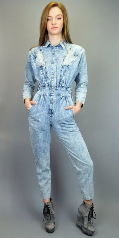 c91646581 Vintage 80s Acid Wash Denim Jumpsuit Blue Jean Romper Coveralls Avon  Fashions One Piece Outfit Rad Skinny Taper Leg Onesie Hipster Rock by  BlueFridayVintage ...