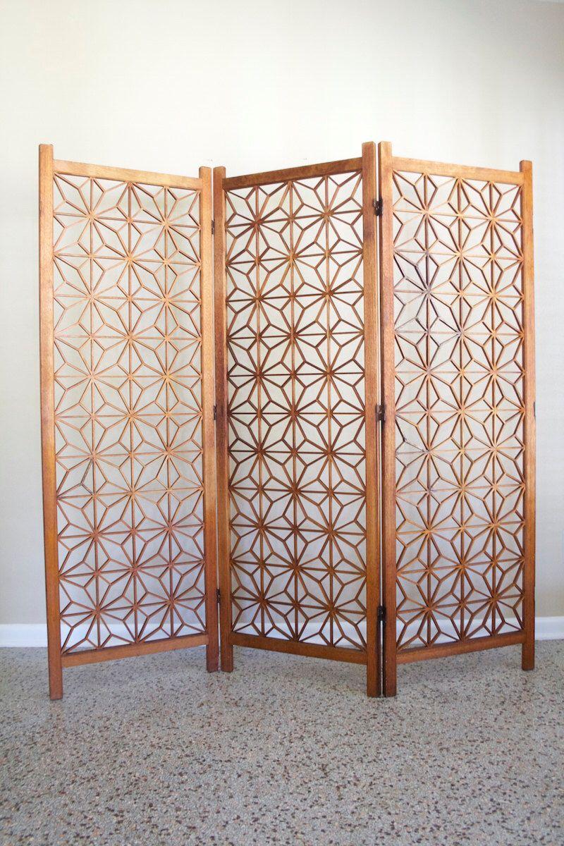 Mid Century Teak Room Divider Screen Vintage 3 Panel Geometric