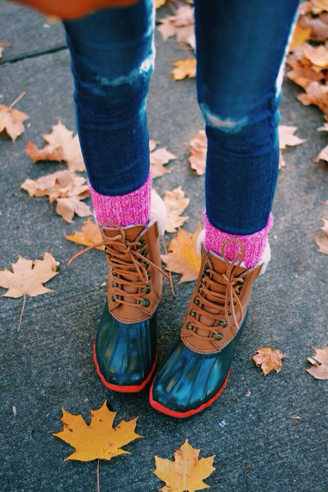 bean boots   hot pink ragg socks  preppy fall perfection