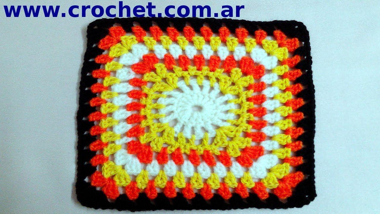 Motivo N° 6 granny square en tejido crochet tutorial paso a paso.
