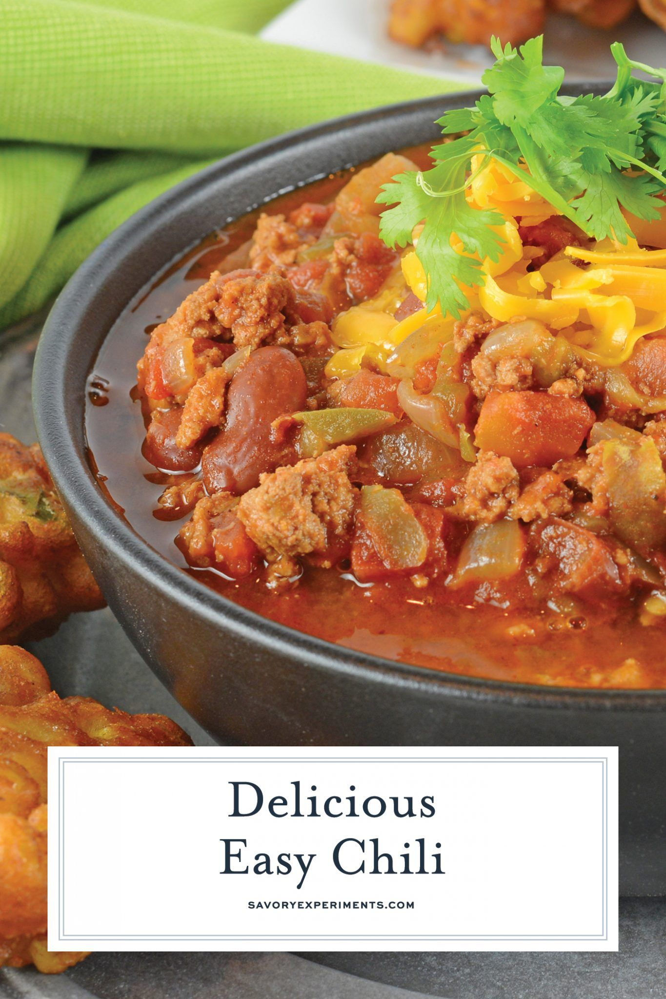 Easy Chili Is A Spicy Mix Full Of Ground Beef Italian Sausage And Vegetables But The Secret Ingredient Makes I Chili Recipe Easy Best Chili Recipe Easy Chili