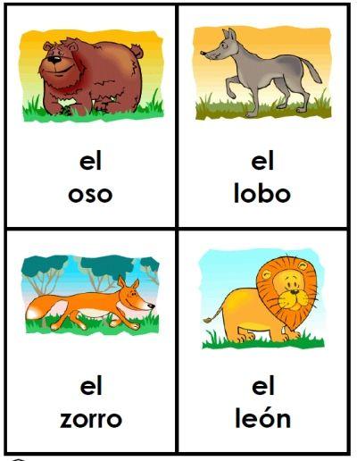 free spanish animal friends cards  learning spanish