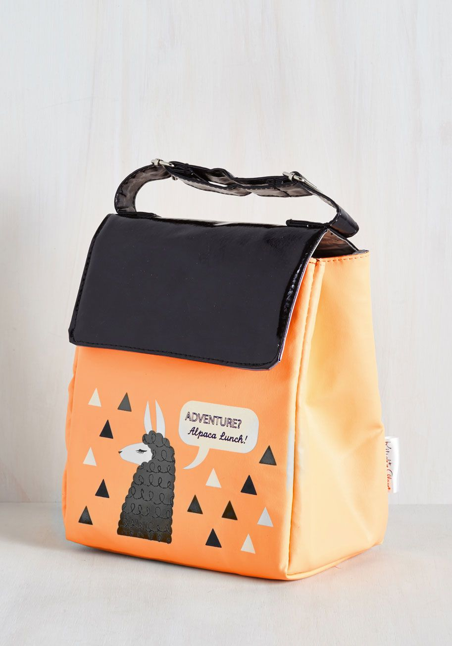 1890db4b58 Alpaca a Punch Lunch Bag. Time to pull your most exciting treat yet from  this printed lunch bag and enjoy away! #orange #modcloth