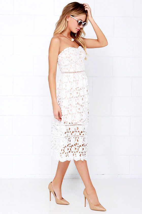 It s obvious that you ve reached the height of fashion when you don the  Pinnacle of Prestige Ivory Lace Midi Dress! Stunning floral lace bodice ... 4274cdb02