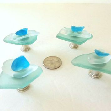 Beach Glass cabinet or drawer knobs seaglass sea glass hardware