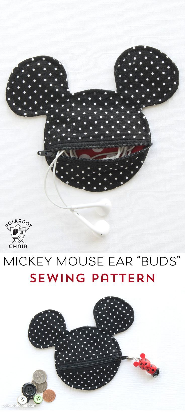 Mickey Mouse Inspired Earbud Pouch Sewing Pattern - Page 2 of 2 ...