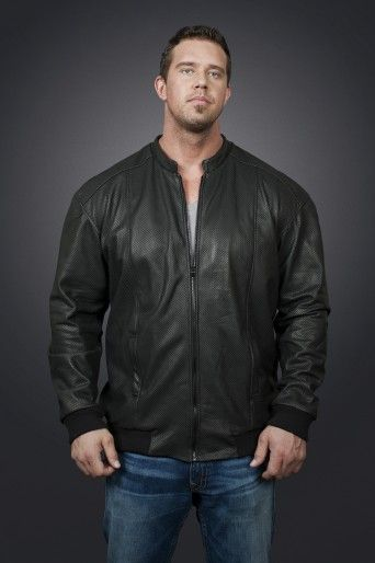 Fashionable perforated leather jacket sports wide, ribbed side panels to move easily and cotton lining allows the jacket to breathe. Fits on many different body types.