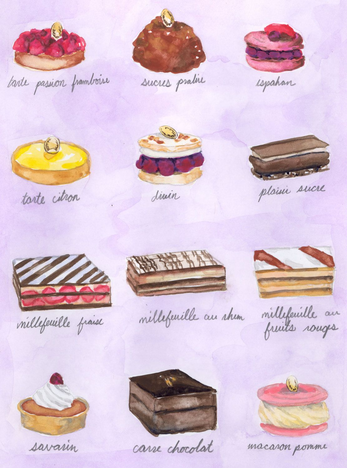 Paris Pastry Dessert Luxe Laduree Menu Watercolor Painting 8 X