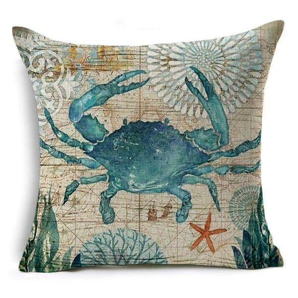 18X18 Retro Sea Animal Polyster Pillow Case Sofa Cushion Cover (the Pillow Inner Is Not Included) | Wish