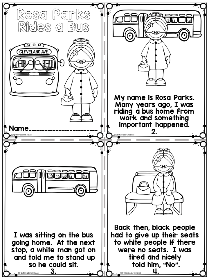 Rosa Parks Black History Month Activities 1st Grade