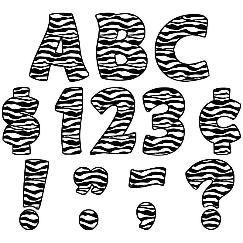 Zebra print funtastic font 4in | Products