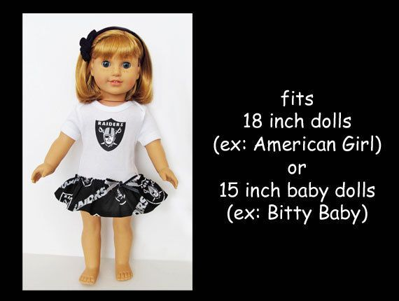 Oakland Raiders / 18 inch doll cheerleader dress / by kkDollTeams #18inchcheerleaderclothes Oakland Raiders / 18 inch doll cheerleader dress / by kkDollTeams #18inchcheerleaderclothes