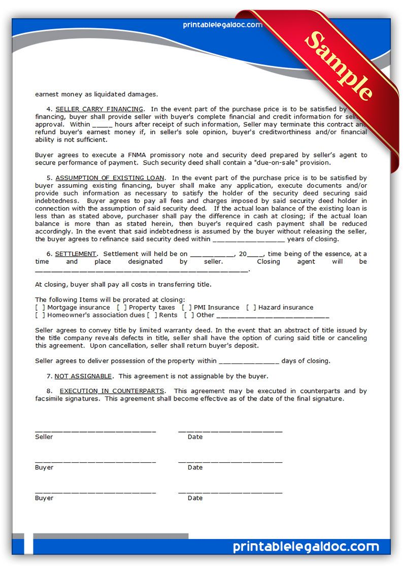 Free Printable Contract To Sell On Land Contract Form Generic