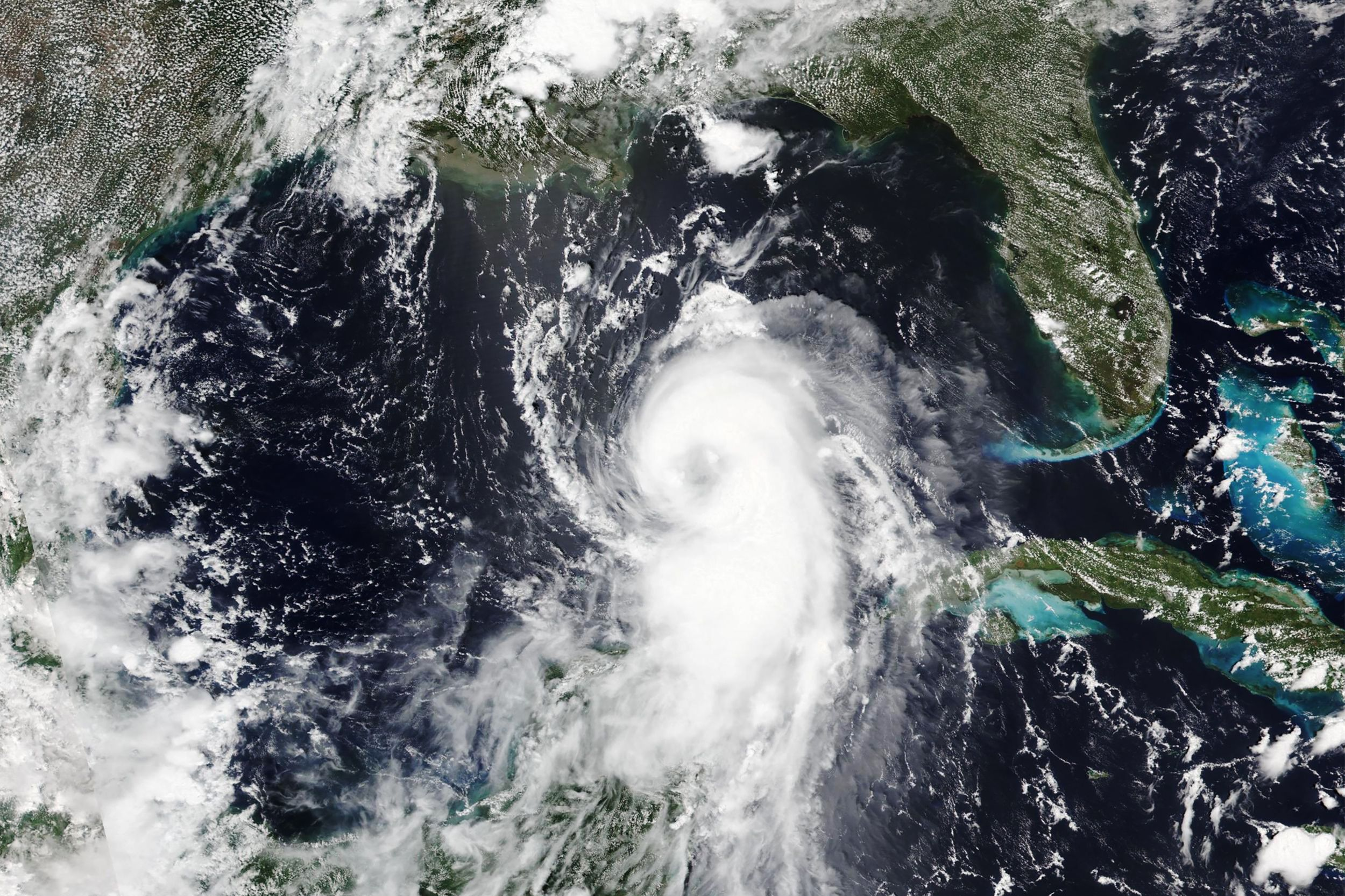 Aug 25 2020 Satellite Image Released By Nasa Shows Hurricane Laura Churning In The Gulf Of Mexico For In 2020 Storm Surge Hurricane Season National Hurricane Center