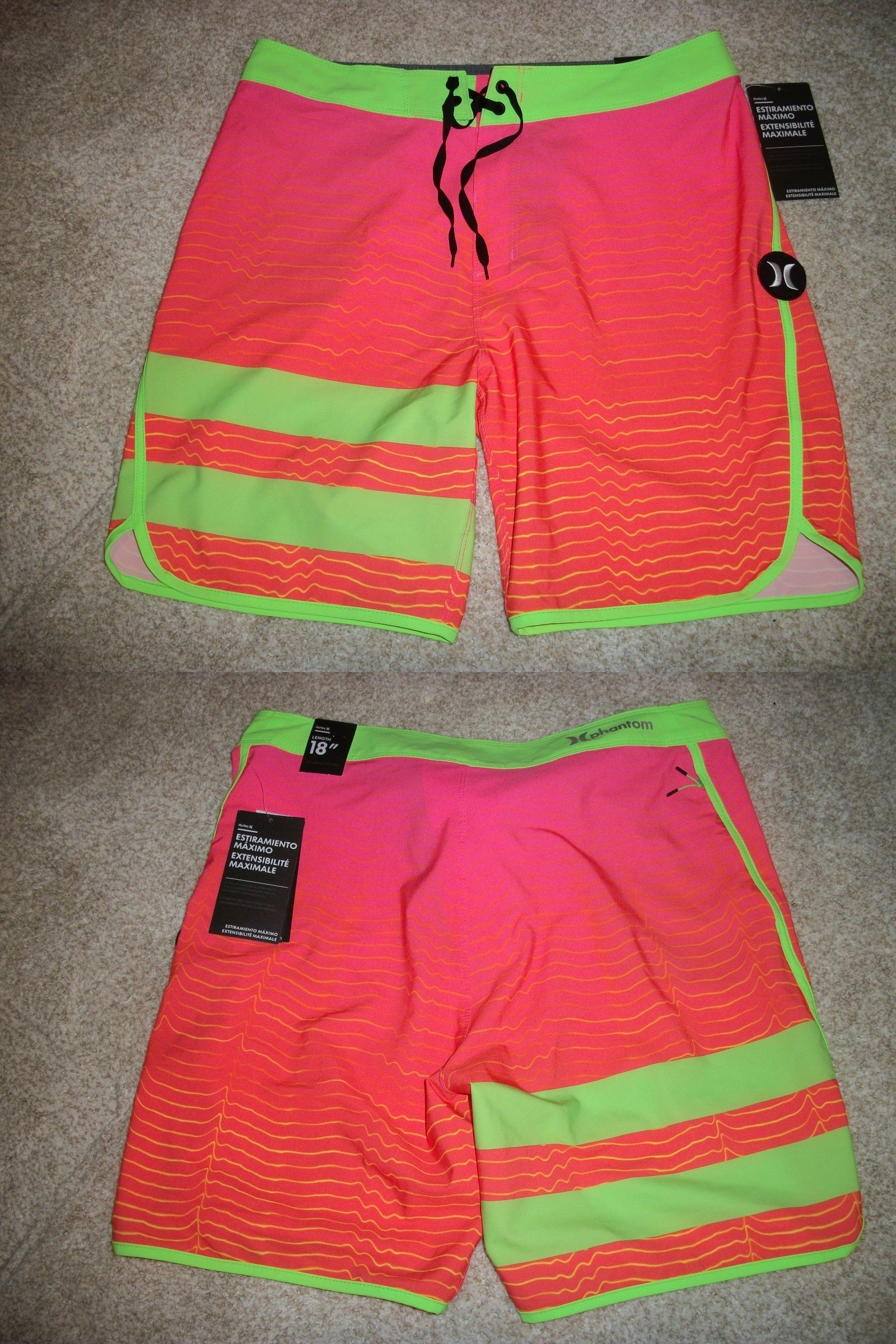 a4db83ca7e Swimwear 15690: Hurley New Nwt Mens Board Shorts Swim Pink Green Phantom 31  32 33 34 36 38 -> BUY IT NOW ONLY: $32.95 on eBay!