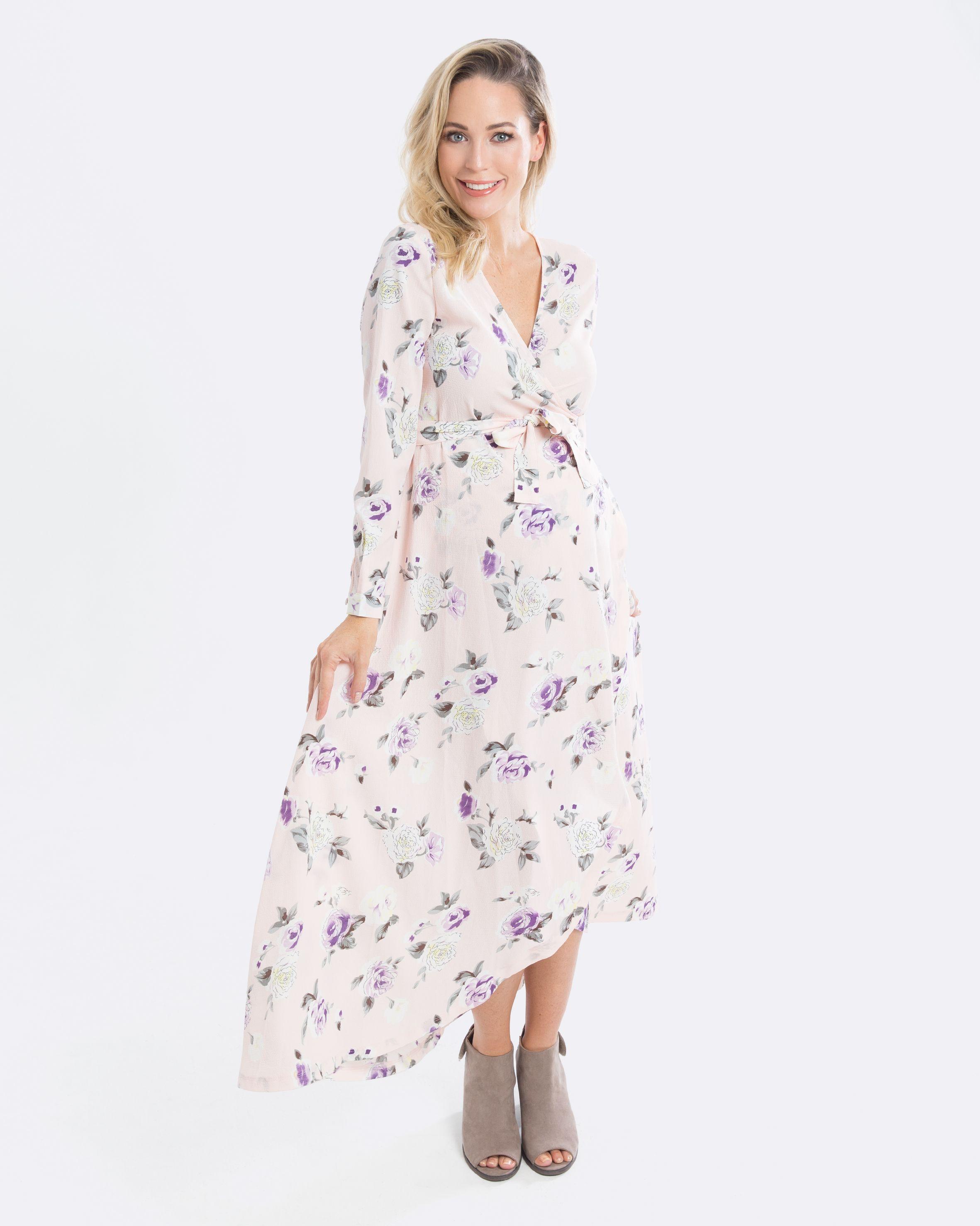 d9ee051d685b2 Pregnancy Wrap Dress - Pink Floral Maxi Maternity Dress - only $65 aud