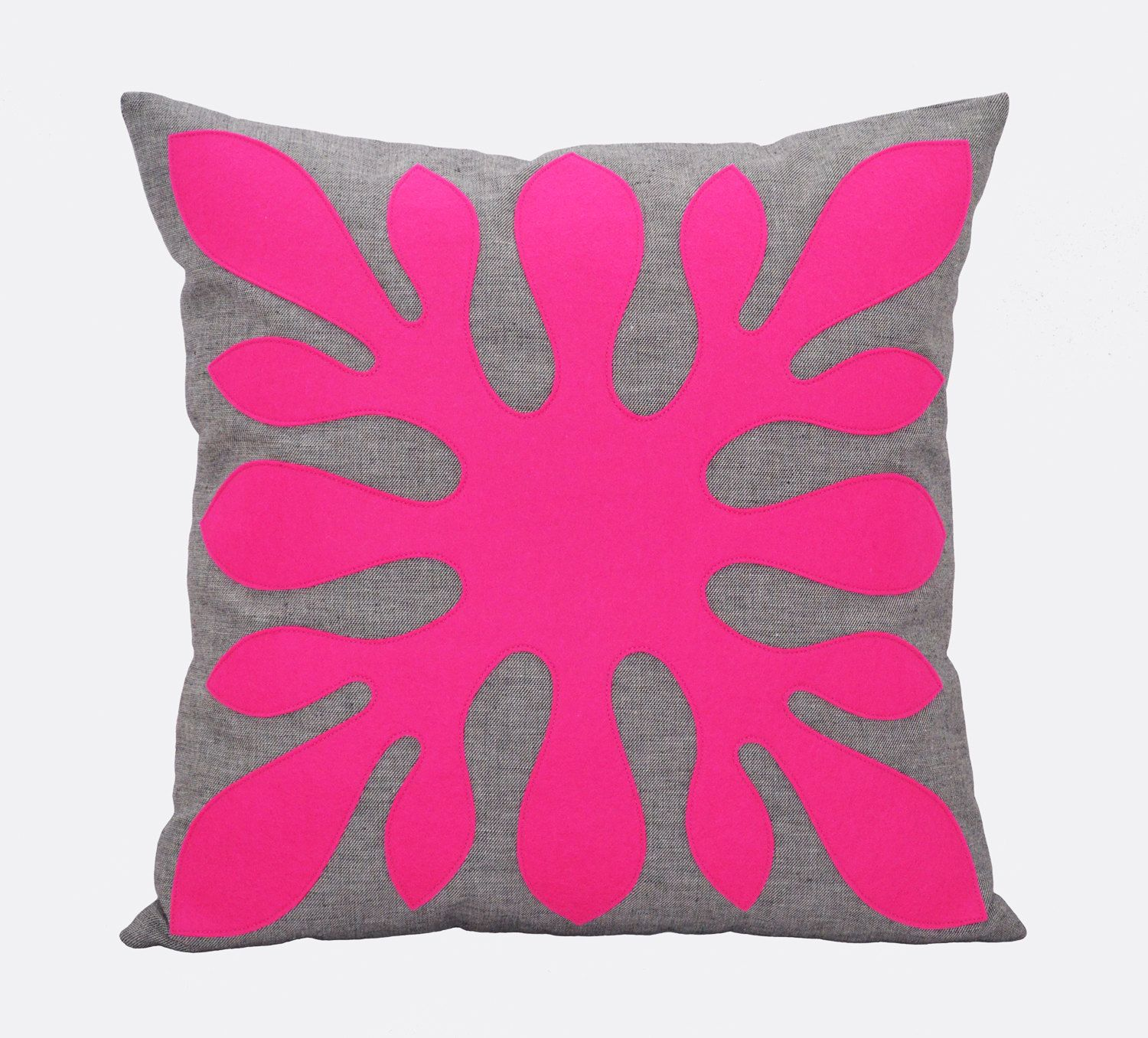 Bright Throw Pillow Neon Pink Pillow Cover by Pillowation on Etsy, $35.00