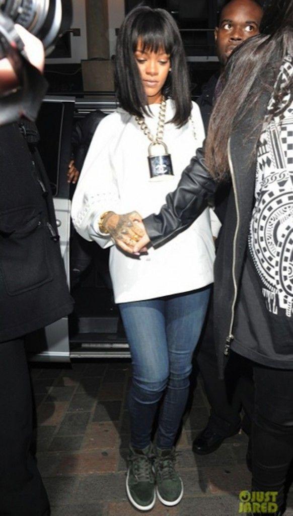 "f94213c91ce6 Rihanna wearing  AirJordan 1 Mid ""Sequoia"""