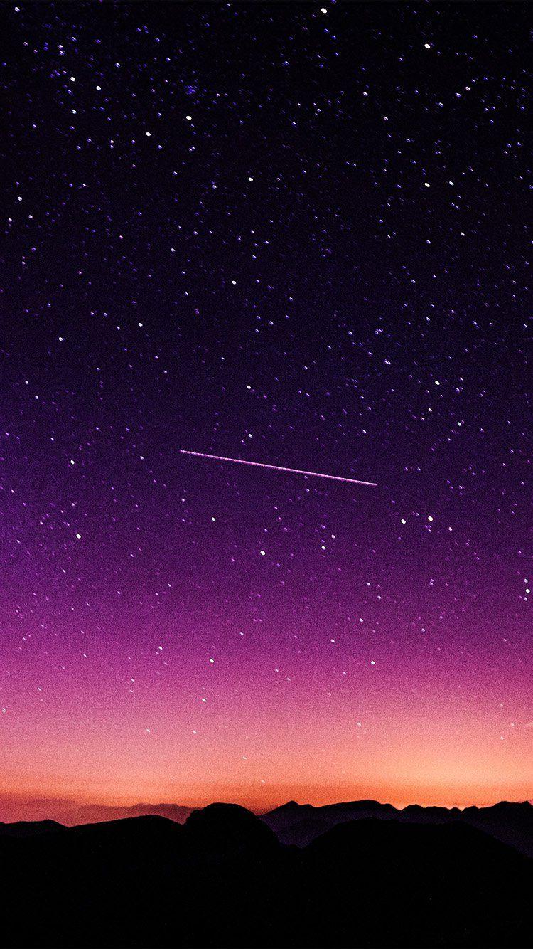 STAR GALAXY NIGHT SKY MOUNTAIN PURPLE RED NATURE SPACE