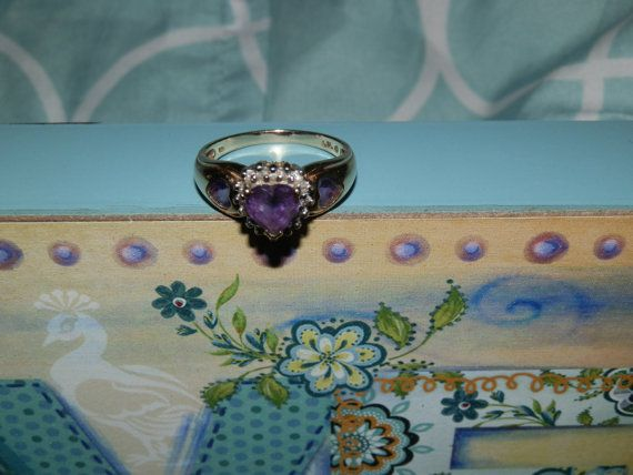 Hey, I found this really awesome Etsy listing at https://www.etsy.com/listing/204061164/heart-amethysts-ring-with-diamond