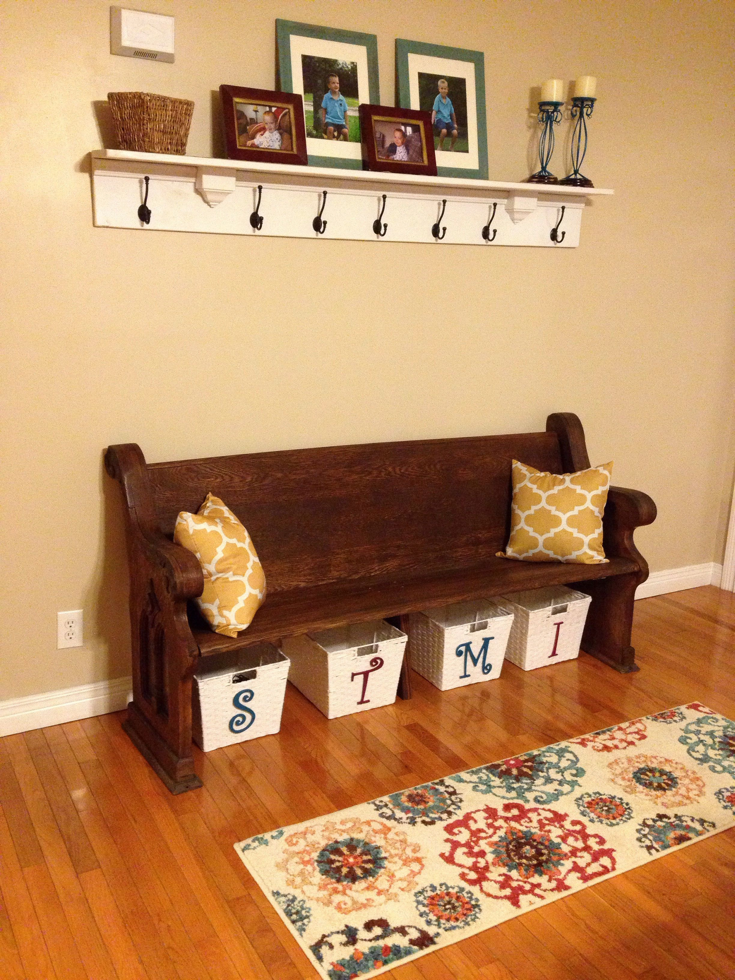 Church pew redo | Living room | Pinterest | Banquette seating ...