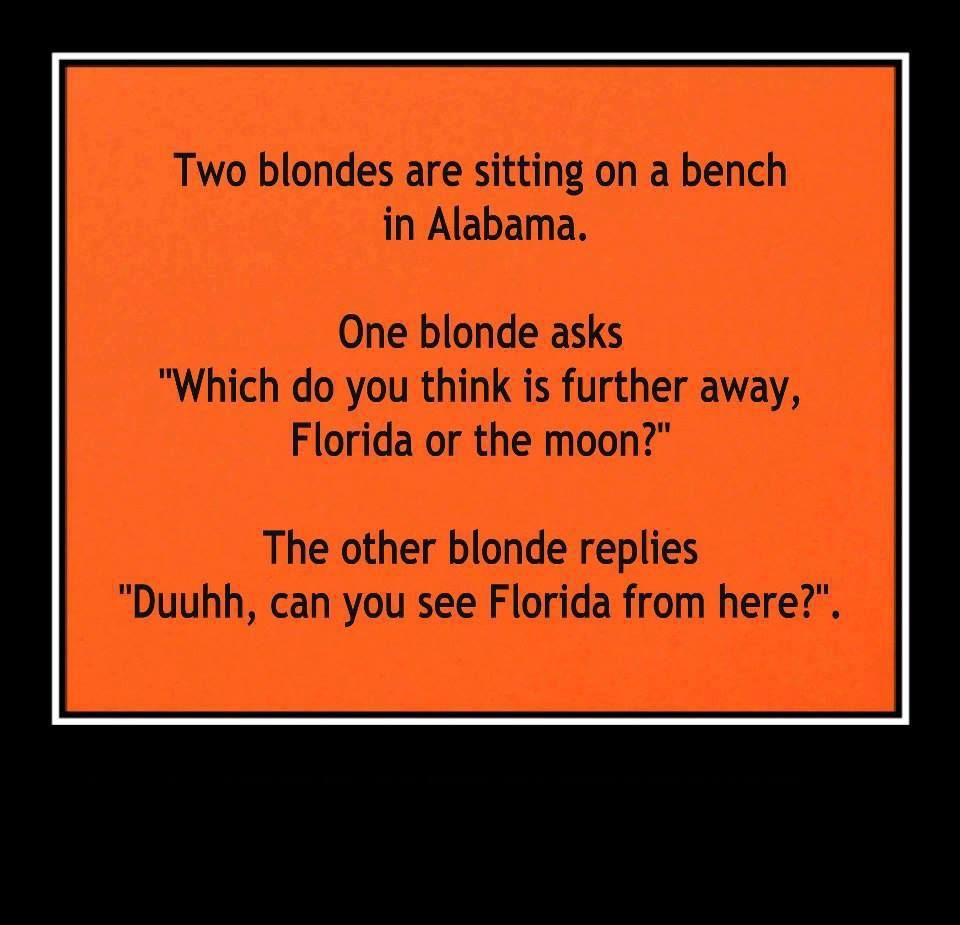 Blonde Moments Florida or the moon Blonde jokes, Funny