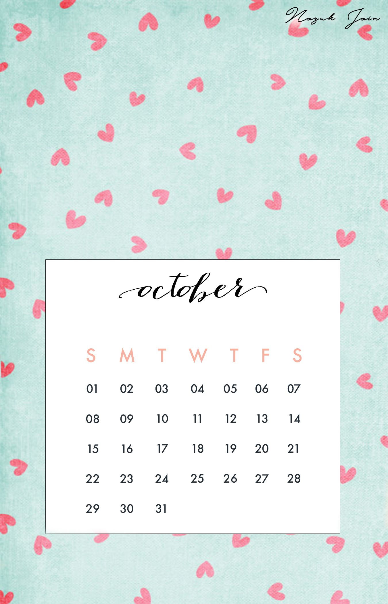 October   Free Calendar Printables 2017 By Nazuk Jain