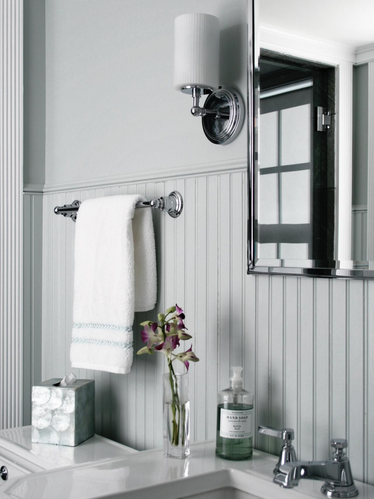 How to Cover Dated Bathroom Tile with Wainscoting | Beadboard ...