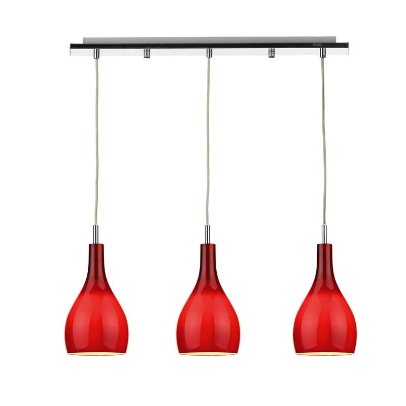 Soho 3 Light Pendant   Red