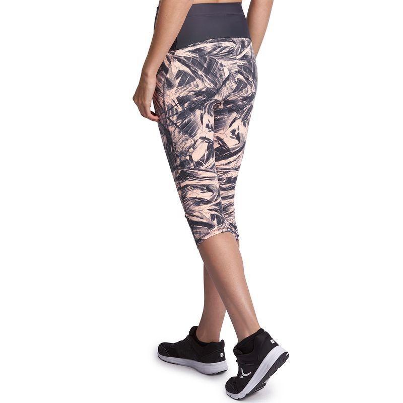 Leggings 3 4 Shape Damen Rosa Grauer Print Domyos Damen Caprihose Sport