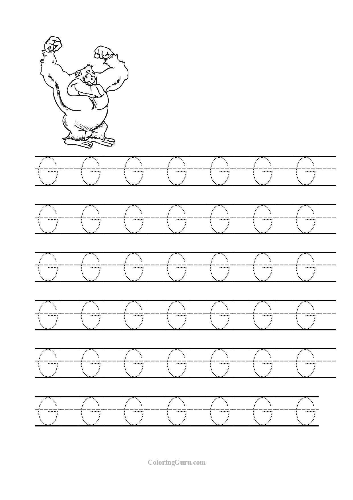 Free Printable Tracing Letter G Worksheets For Preschool Education