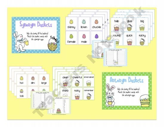 Easter Basket Synonym and Antonym Activities