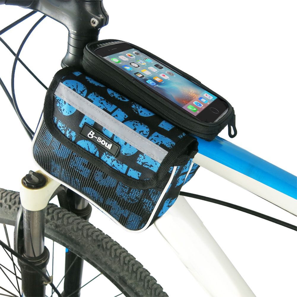 Bicycle Mobile Bag Bike Storage Cycling Pouch MTB Front Tube Frame Accessories