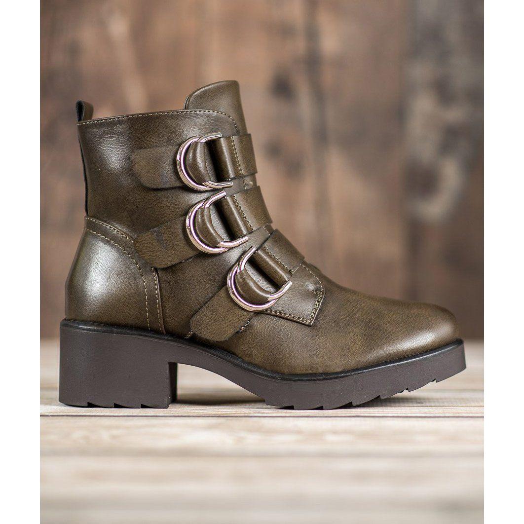 Queentina Oliwkowe Botki Na Platformie Zielone Olive Boots Boots Womens Boots