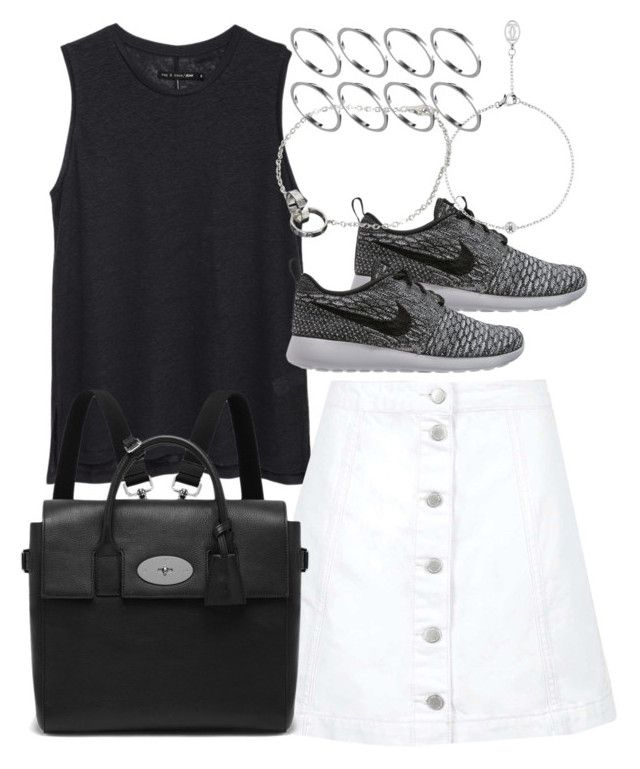 """""""Untitled #3510"""" by plainly-marie ❤ liked on Polyvore featuring rag & bone/JEAN, Topshop, Mulberry, NIKE, Cartier and ASOS"""