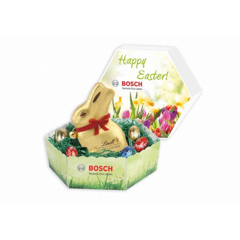 Image of hexagonal easter lidded gift box with lindt bunny and mini image of hexagonal easter lidded gift box with lindt bunny and mini eggs negle Choice Image